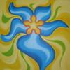 """""""Blaue Blume"""" 2013, 90x100cm, Acryl mit Echtgold"""