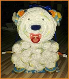 Windelbär Bastelanleitung, Anleitung - Wie kann ich einen Bären aus Pampers / Windeln selber basteln sowie viele weitere Anleitungen für verschiedene Windelmotive und Figuren aus Windeln