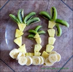 Ananas, Kiwi und andere Früchte kreativ schneiden und dekorieren, Ideen aus Obst für Kindergeburtstag oder wenn Kinder schlecht Obst essen