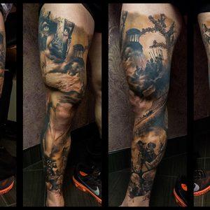 Selfmade Tattoo Berlin Zsofia Belteczky 300 leg sleeve sparta