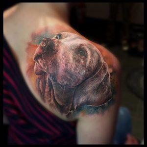 Selfmade Tattoo Berlin Zsofia Belteczky dog portrait hund