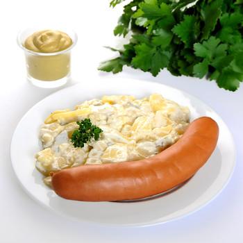 Bockwurst mit Kartoffelsalat und Mayo