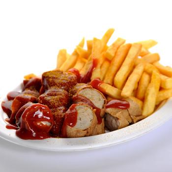 Currywurst mit Pommes Frites (groß)