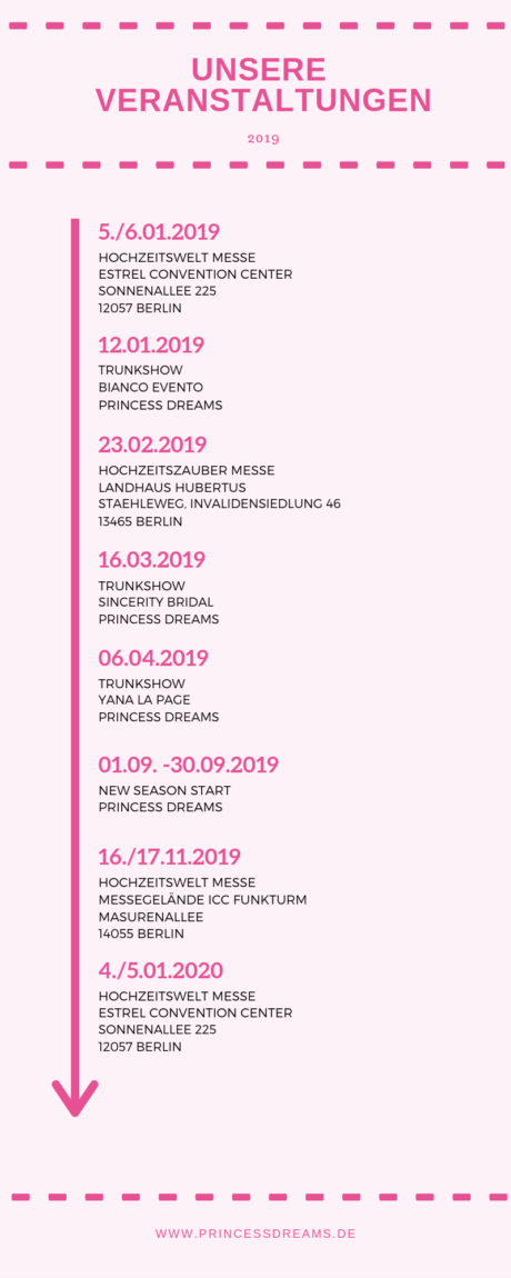 Unsere Veranstaltungen 2019. Hochzeitswelt Messe in Berlin, Trunkshow von Bianco Evento, Hochzeitszauber Messe in Berlin. Trunkshow von Sincerity Bridal, Trunkshow von Yana La Page, Neue Kollektion.