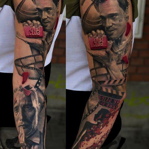 Kristof, Kondrat, Selfmade, Tattoo, Berlin, Vegan, Realistic, Portrait, Brad Pitt, Fight Club, Trash, Polka, Sleeve