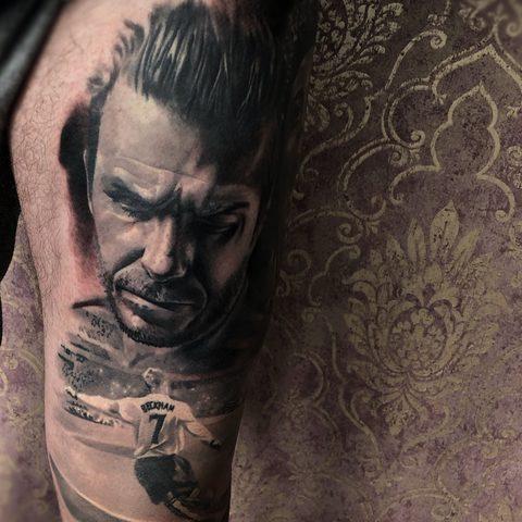 Kristof, Kondrat, Selfmade, Tattoo, Berlin, Vegan, Realistic, Portrait, Beckham, Football