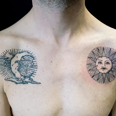 Selfmade, Tattoo, Berlin, Angie, Rimmel, Vegan, Walk In, Traditional, Line work, Moon, Sun