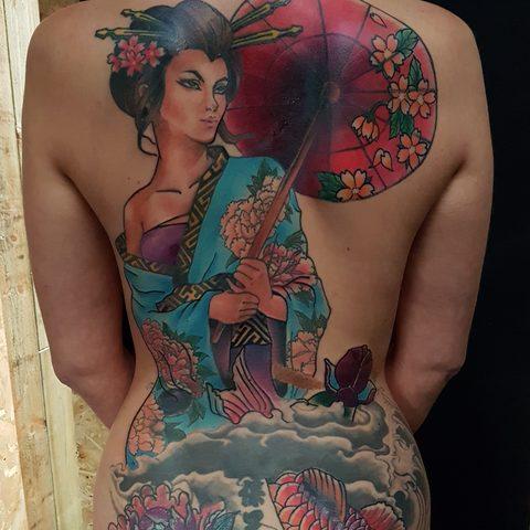 Selfmade Tattoo Berlin Angie Rimmel Vegan Walk In Traditional Asian Backpiece Gesa Koi