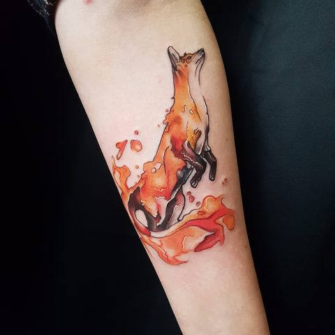 Selfmade, Tattoo, Berlin, Angie, Rimmel, Vegan, Walk In, Traditional, Fox, Fuchs, Water ,color