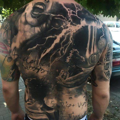 Selfmade Tattoo Berlin Kristof Tito Kondrat backpiece lightning face