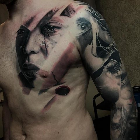 Selfmade Tattoo Berlin Kristof Tito Kondrat portrait sleeve abstract face eye