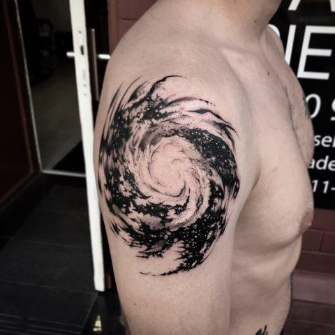 Bartek, Szulc, Selfmade, Tattoo, Berlin, Vegan, Realistic, Walkin, Galaxy, Universum, Kossmos, blackwork
