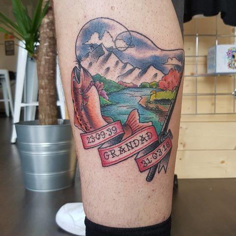 Selfmade Tattoo Berlin Angie Rimmel Vegan Walk In Traditional Fish Lake Mountain