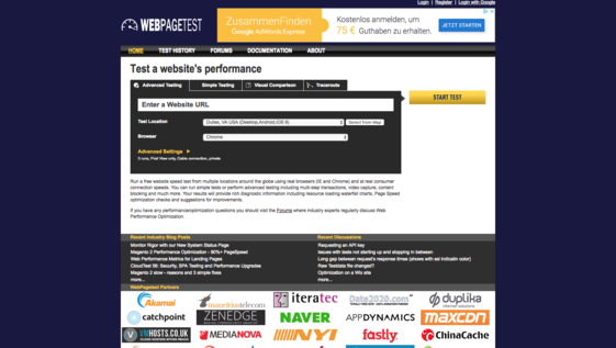 PageSpeed mit WebPageTest