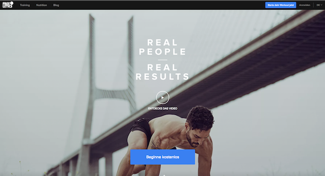 freeletics landingpage