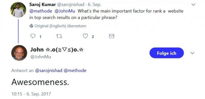 Tweet John Müller zur URL Struktur