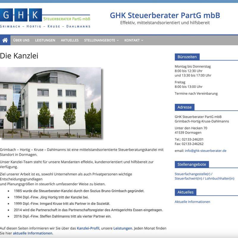 Steuerberater-Dormagen.de Grimbach ‑ Hortig ‑ Kruse ‑ Dahlmanns Steuerberater PartG mbB | Website für Steuerberater-Kanzlei