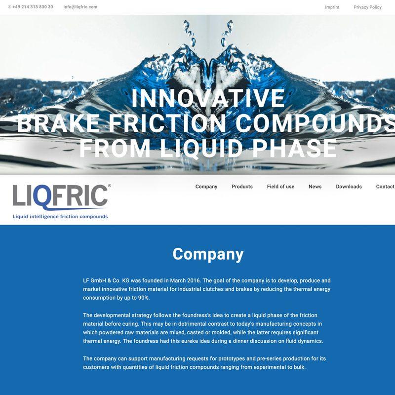 LF GmbH &Co.KG | LiQfric. Namensfindung, Logo, Corporate Design, Website, lfd. Beratung
