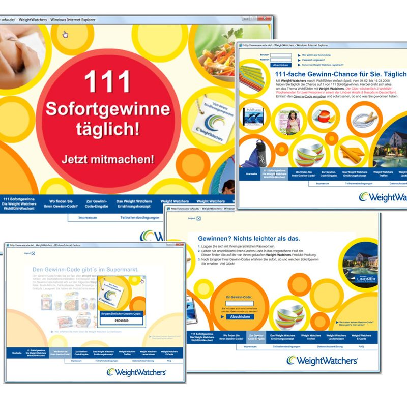Weight Watchers | Beratung, Creation, Technische Realisation einer webbasierenden Onpack-Coupon Aktion
