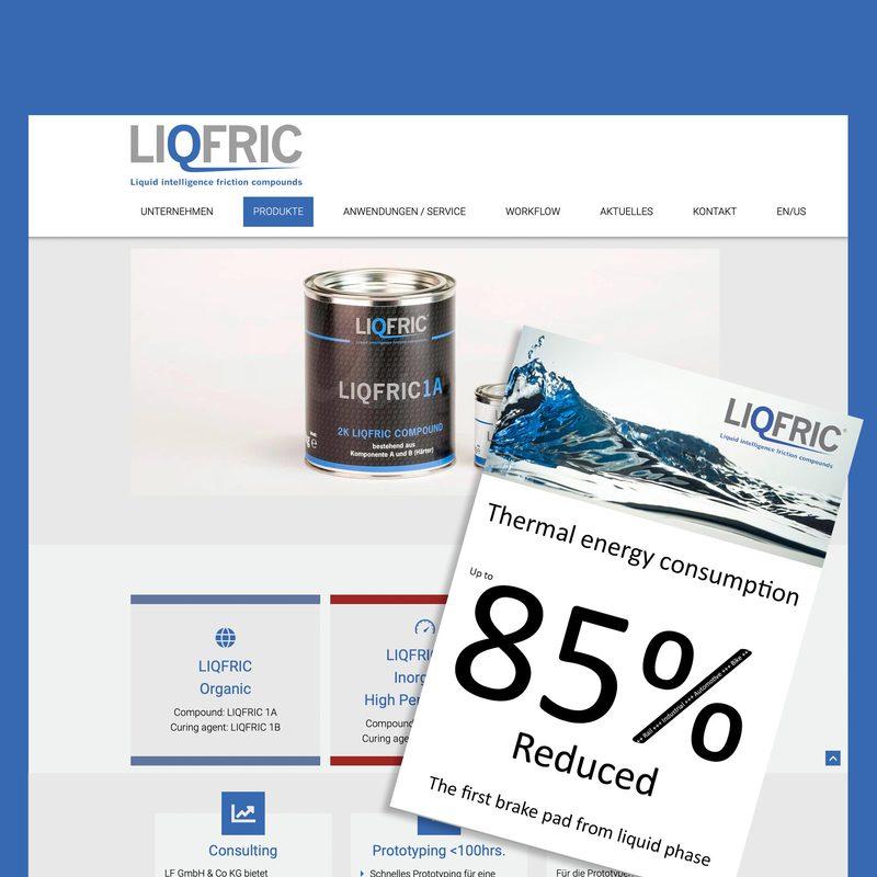 LF GmbH &Co.KG | LIQFRIC: Namensfindung, Logo, Corporate Design, Website, lfd. Beratung, Drucksachen