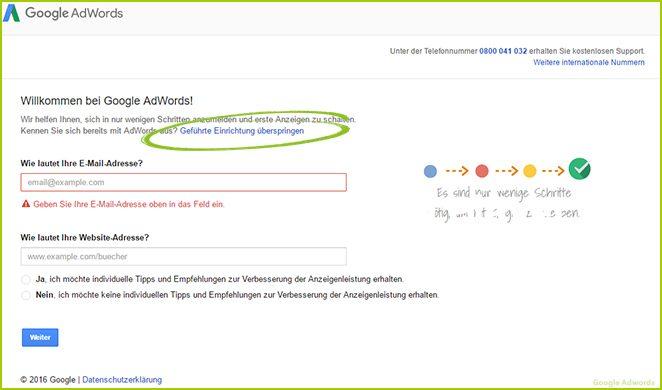 AdWords Konto einrichten