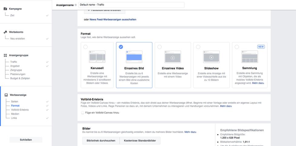 Werbemittel bei Facebook erstellen