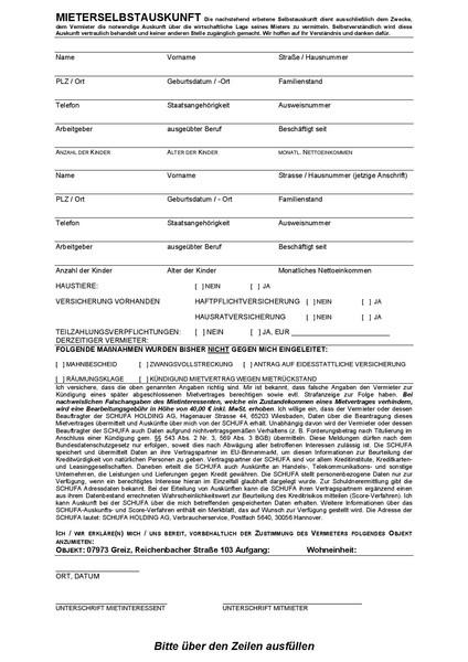 Mieterselbstauskunft   AP GmbH
